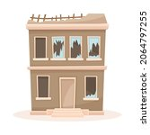 abandoned two storey house with ... | Shutterstock .eps vector #2064797255