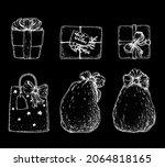 christmas gifts set sketch....   Shutterstock .eps vector #2064818165