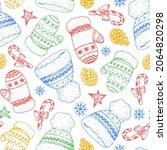christmas scandinavian warm hat ...   Shutterstock .eps vector #2064820298