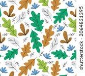 pattern of autumn oak leaves...   Shutterstock .eps vector #2064831395