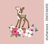 cute vintage fawn with summer...   Shutterstock .eps vector #2065136432