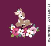 cute vintage fawn with summer...   Shutterstock .eps vector #2065136435