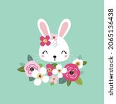 cute white rabbit face with...   Shutterstock .eps vector #2065136438