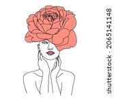 woman face with flowers. line...   Shutterstock .eps vector #2065141148