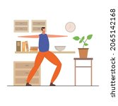home stretching illustrated on...   Shutterstock .eps vector #2065142168