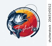 fishing logo. bass fish with...   Shutterstock .eps vector #2065145012