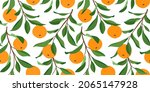seamless pattern with oranges....   Shutterstock .eps vector #2065147928