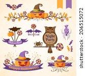 set of halloween decorative... | Shutterstock .eps vector #206515072