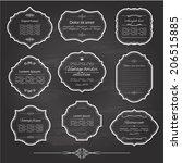 vintage frame set on chalkboard ... | Shutterstock .eps vector #206515885