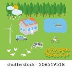 farm vellage landscape life... | Shutterstock . vector #206519518