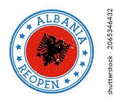albania reopening stamp. round... | Shutterstock .eps vector #2065346432