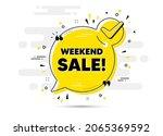 weekend sale text. check mark... | Shutterstock .eps vector #2065369592