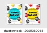 weekend sale text. flyer... | Shutterstock .eps vector #2065380068