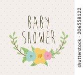 baby shower design over beige... | Shutterstock .eps vector #206558122
