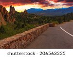 Majestic Sunset Image of the Garden of the Gods with dramatic sky.