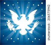 american symbol over  blue... | Shutterstock .eps vector #206575942