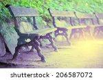 wooden bench at park   Shutterstock . vector #206587072