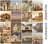 vintage cities of the world... | Shutterstock . vector #206604766