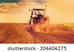 farmer in tractor preparing... | Shutterstock . vector #206606275