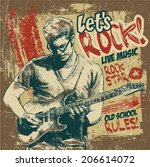 retro design let's rock  with... | Shutterstock .eps vector #206614072