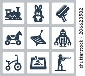 children's toys vector icons...