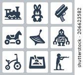 children's toys vector icons...