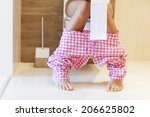 close up of woman on toilet in... | Shutterstock . vector #206625802