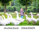 funny happy little girl ...   Shutterstock . vector #206630605