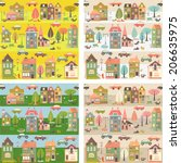 seamless pattern with houses | Shutterstock .eps vector #206635975