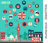 london icon set. vector... | Shutterstock .eps vector #206657026