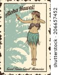 vintage hula girl sign | Shutterstock .eps vector #206657452