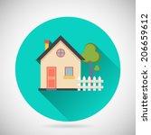 real estate symbol house... | Shutterstock .eps vector #206659612