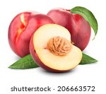 Three Ripe Nectarine Fruits...
