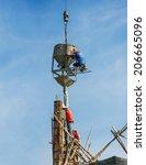 worker working on foundation... | Shutterstock . vector #206665096