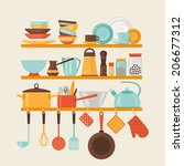 card with kitchen shelves and... | Shutterstock .eps vector #206677312