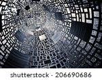 dark black and white geometric... | Shutterstock . vector #206690686
