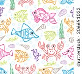 doodle seamless pattern.set of... | Shutterstock .eps vector #206691022
