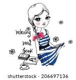 fashion girl   Shutterstock .eps vector #206697136