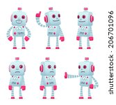 set of old robot character in different interactive  poses