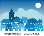 Cartoon Vector Village By Night