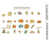 happy thanksgiving deco elements | Shutterstock .eps vector #206709472
