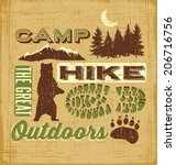 hiking camping design elements... | Shutterstock .eps vector #206716756
