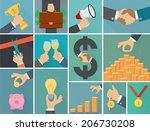 vector set of business flat... | Shutterstock .eps vector #206730208