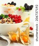healthy breakfast with corn... | Shutterstock . vector #206737192