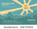 sky with clouds  and sun with... | Shutterstock .eps vector #206754562