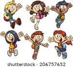 cartoon school kids. vector... | Shutterstock .eps vector #206757652