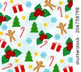 seamless pattern with christmas ... | Shutterstock .eps vector #206758798