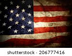 closeup of grunge american flag | Shutterstock . vector #206777416