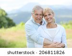 portrait of cheerful senior... | Shutterstock . vector #206811826