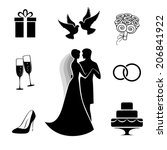 bride and groom with some... | Shutterstock .eps vector #206841922
